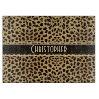 Leopard Spot Skin Print Personalized Cutting Board