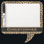 "Leopard Spot Skin Print Personalized Dry Erase Board<br><div class=""desc"">Leopard spot skin print design. With a dark banner that is ready to be personalized and add any name to this wild cat print. With a transparent white graphic.</div>"