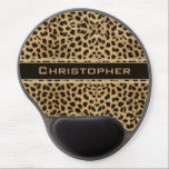 "Leopard Spot Skin Print Personalized Gel Mouse Pad<br><div class=""desc"">Leopard spot skin print design. With a dark banner that is ready to be personalized and add any name to this wild cat print.</div>"