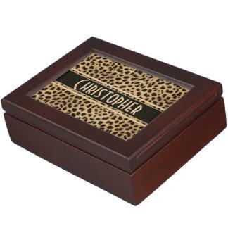 Leopard Spot Skin Print Personalized Memory Box