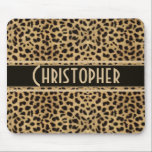 "Leopard Spot Skin Print Personalized Mouse Pad<br><div class=""desc"">Leopard spot skin print design. With a dark banner that is ready to be personalized and add any name to this wild cat print.</div>"
