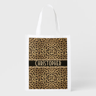 Leopard Spot Skin Print Personalized Reusable Grocery Bag