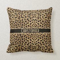 Leopard Spot Skin Print Personalized Throw Pillow