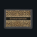 """Leopard Spot Skin Print Personalized Tri-fold Wallet<br><div class=""""desc"""">Leopard spot skin print design. With a dark banner that is ready to be personalized and add any name to this wild cat print.</div>"""