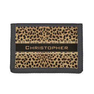 Leopard Spot Skin Print Personalized Tri-fold Wallet