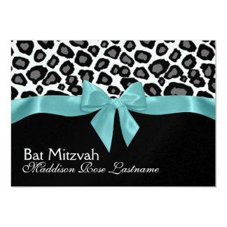 Leopard Spots and Aqua Ribbon Bat Mitzvah 5x7 Paper Invitation Card