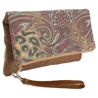Leopard Spots and Paisley Clutch