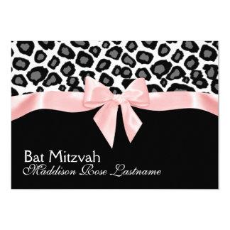 Leopard Spots and Pink Ribbon Bat Mitzvah 5x7 Paper Invitation Card