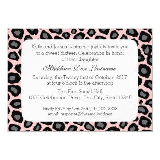 Leopard Spots and Pink Ribbon Sweet 16 5x7 Paper Invitation Card