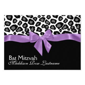 Leopard Spots and Purple Ribbon Bat Mitzvah 5x7 Paper Invitation Card