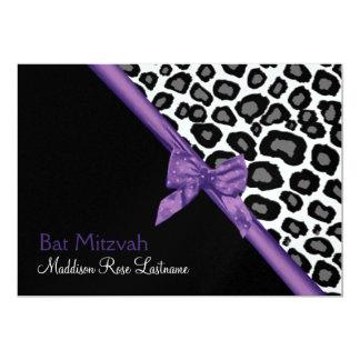 Leopard Spots and Purple Ribbon 5x7 Paper Invitation Card