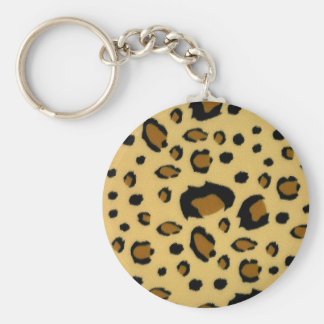 Leopard Spots Brushed Fur Texture Look Basic Round Button Keychain