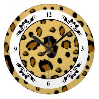 Leopard Spots Brushed Fur Texture Look Large Clock