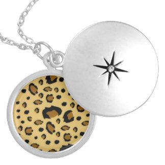 Leopard Spots Brushed Fur Texture Look Locket Necklace