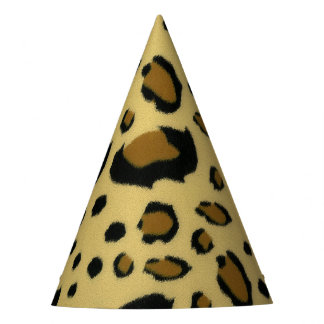 Leopard Spots Brushed Fur Texture Look Party Hat