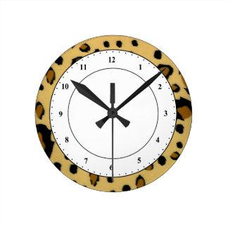 Leopard Spots Brushed Fur Texture Look Round Clock