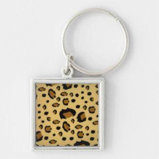 Leopard Spots Brushed Fur Texture Look Silver-Colored Square Keychain
