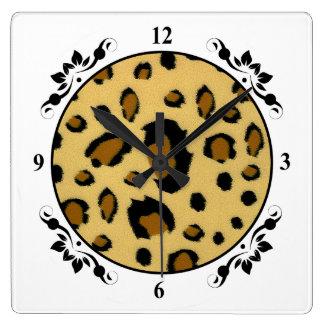 Leopard Spots Brushed Fur Texture Look Square Wall Clock