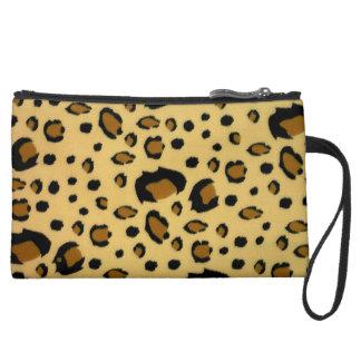 Leopard Spots Brushed Fur Texture Look Suede Wristlet