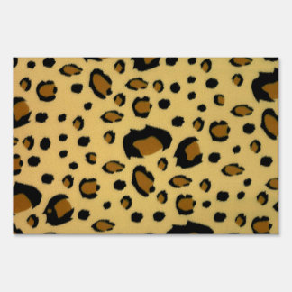 Leopard Spots Brushed Fur Texture Look Lawn Signs