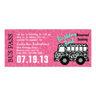 Leopard Spots Bus Pass Birthday Party 4x9.25 Paper Invitation Card