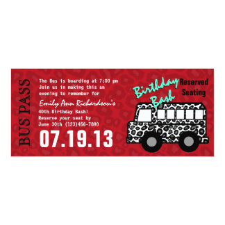 Leopard Spots Bus Pass Birthday Party Card