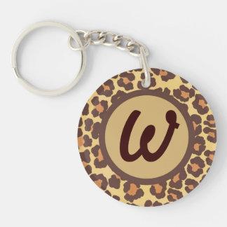 Leopard spots customizable initial keychain