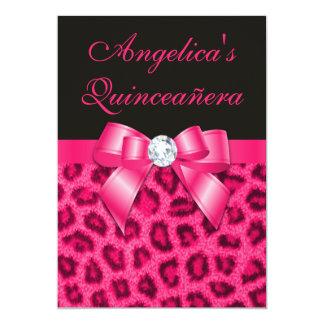 Leopard Spots Hot Pink Bow Quinceañera Card