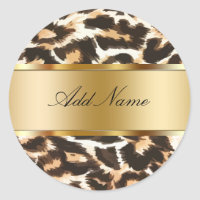 Leopard Spots Monogram Sticker Labels
