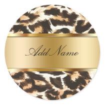 Leopard Spots Monogram Sticker Labels