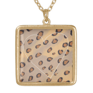 Leopard Spots Painting with a Heart Necklace