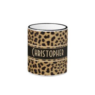 Leopard Spots Pattern Ringer Coffee Mug