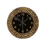 Leopard Spots Pattern Round Clocks
