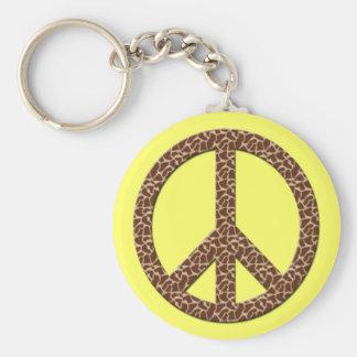LEOPARD SPOTS PEACE SIGN KEYCHAIN