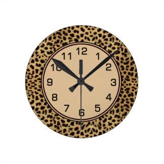 Leopard Spots Skin Numbers Round Clock