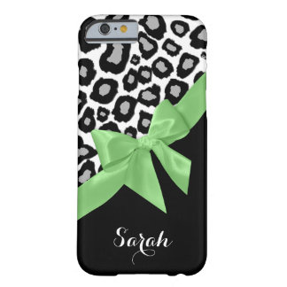 Leopard Spots Spring Green Bow with Name Barely There iPhone 6 Case