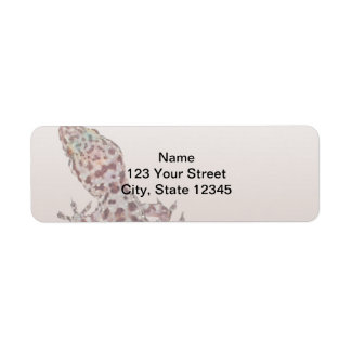 Leopard Spotted Gecko on Sand Label