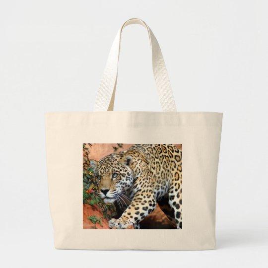 Leopard Stalking Macro Large Tote Bag
