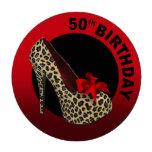 Leopard Stiletto 50th Birthday red black Poker Chips