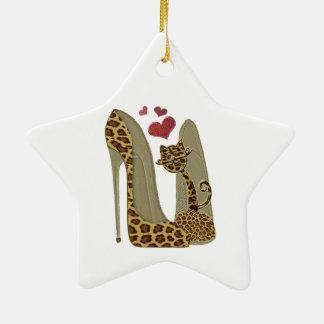 Leopard Stiletto Shoes and Cat Art Ceramic Ornament