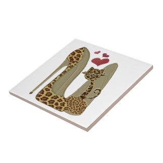 Leopard Stiletto Shoes and Cat Art Ceramic Tile