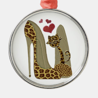Leopard Stiletto Shoes and Cat Art Metal Ornament