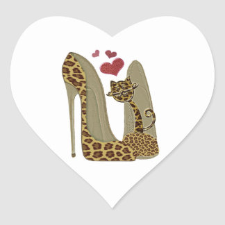Leopard Stiletto Shoes and Cat Art Stickers