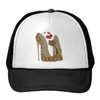 Leopard Stiletto Shoes and Cat Art Trucker Hat