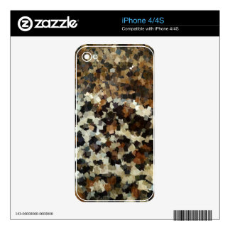 Leopard Style Brown Black Square Pattern Decals For The iPhone 4
