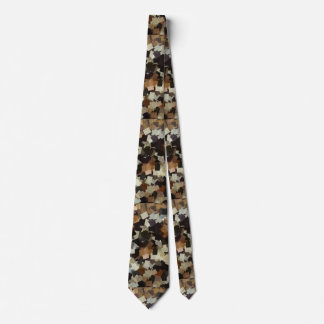 Leopard Style Brown Black Square Pattern Tie