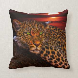 Leopard Sunrise Nature Scenery Throw Pillow