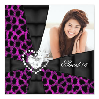 Leopard Sweet 16 Sixteen Birthday Party Photo Card