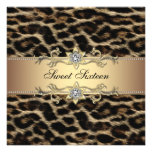 Leopard Sweet Sixteen Birthday Party Custom Announcement
