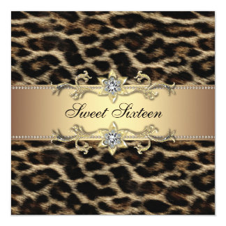 Leopard Sweet Sixteen Birthday Party 5.25x5.25 Square Paper Invitation Card